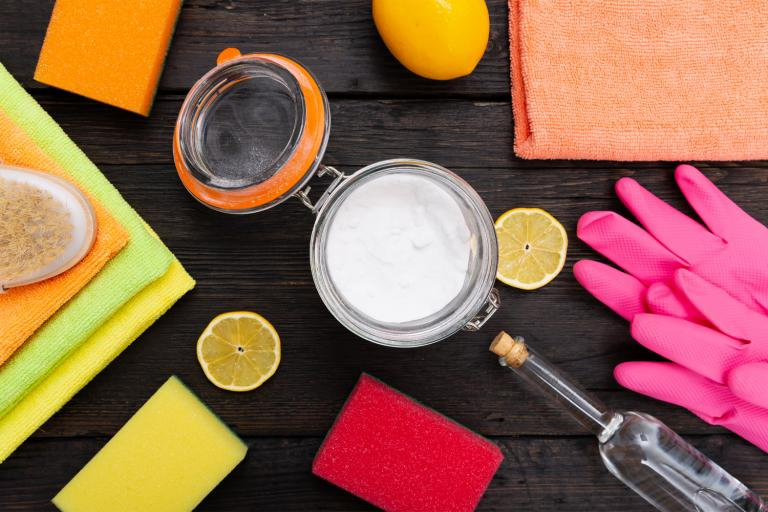 a variety of all-natural cleaning products and tools
