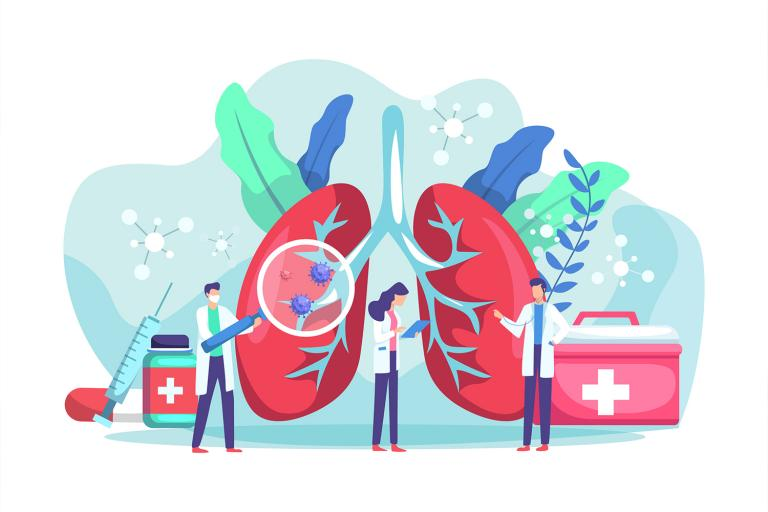An illustration of doctors and scientists examining lung health.